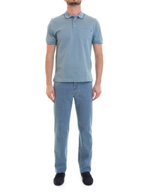 Brioni: polo shirts online - Chest pocket light blue cotton polo
