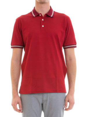 Brioni: polo shirts online - Cotton and silk blend polo