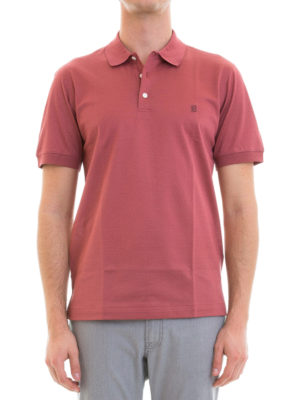 Brioni: polo shirts online - Embroidered logo pique polo