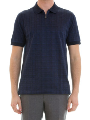 Brioni: polo shirts online - Geometric pattern cotton polo shirt