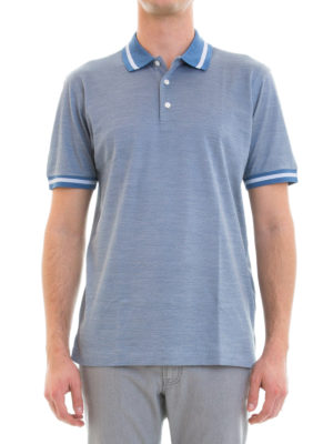 Brioni: polo shirts online - Melange cotton and silk blend polo