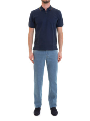 Brioni: polo shirts online - Zipped blue cotton polo shirt