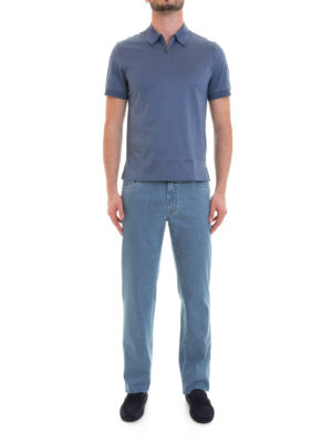 Brioni: polo shirts online - Zipped light blue cotton polo shirt