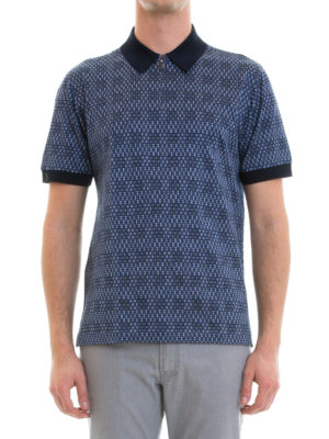 Brioni: polo shirts online - Zipped patterned cotton polo
