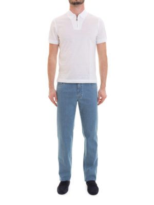 Brioni: polo shirts online - Zipped white cotton polo shirt