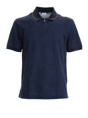 Brioni: polo shirts - Zipped blue cotton polo shirt