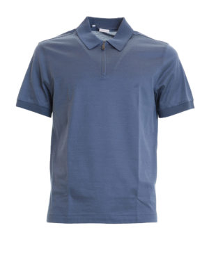 Brioni: polo shirts - Zipped light blue cotton polo shirt