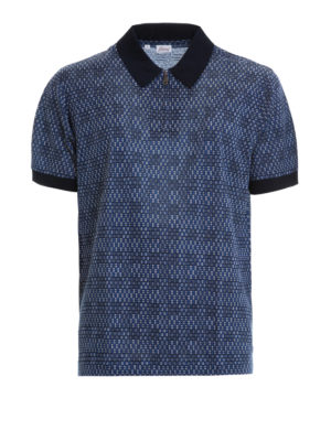 Brioni: polo shirts - Zipped patterned cotton polo