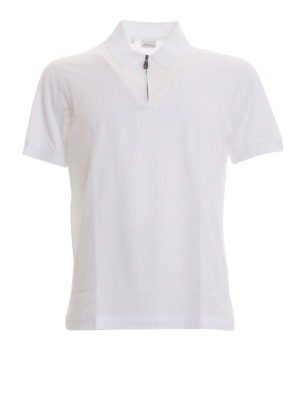 Brioni: polo shirts - Zipped white cotton polo shirt