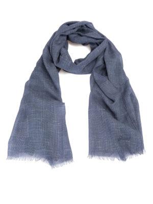 Brioni: scarves - Blue cashmere silk linen scarf