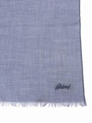 Brioni: scarves online - Blue cashmere silk linen scarf