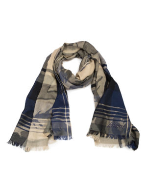 Brioni: scarves - Printed cashmere and silk scarf