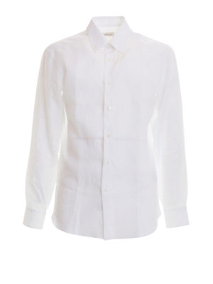 Brioni: shirts - Long sleeved white linen shirt