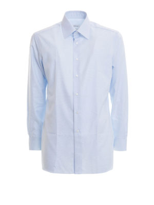 Brioni: shirts - Micro pattern formal cotton shirt
