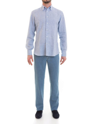 Brioni: shirts online - Long sleeved linen shirt