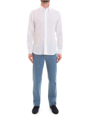 Brioni: shirts online - Long sleeved white linen shirt