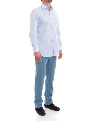 Brioni: shirts online - Micro pattern formal cotton shirt
