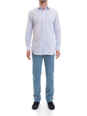 Brioni: shirts online - Micro stripes formal cotton shirt