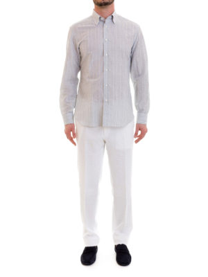 Brioni: shirts online - Striped linen and cotton shirt