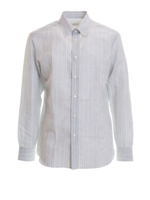 Brioni: shirts - Striped linen and cotton shirt