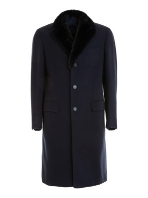 Brioni: short coats - Brunico fur collar wool overcoat