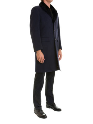 Brioni: short coats online - Brunico fur collar wool overcoat