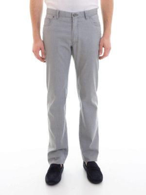 Brioni: straight leg jeans online - Logo tag classic jeans