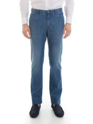 Brioni: straight leg jeans online - Stretch cotton denim jeans