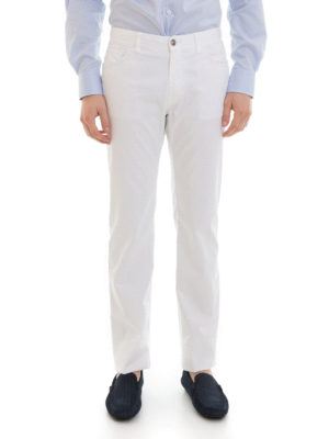 Brioni: straight leg jeans online - Stretch cotton five pocket jeans