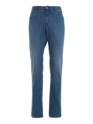 Brioni: straight leg jeans - Stretch cotton denim jeans