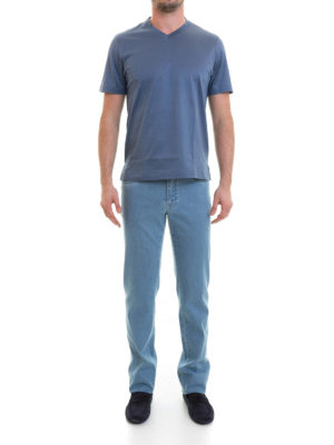 Brioni: t-shirts online - V-neckline cotton T-shirt