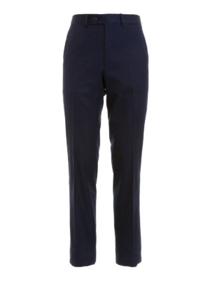 Brioni: Tailored & Formal trousers - Blue cotton trousers