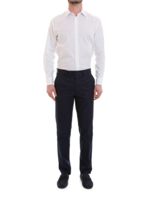 Brioni: Tailored & Formal trousers online - Blue cotton trousers