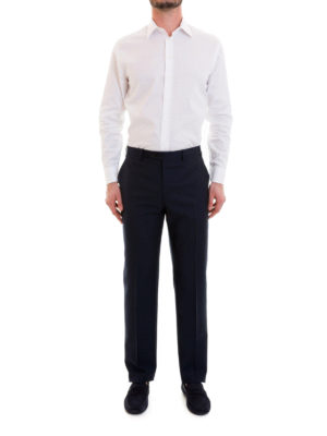 Brioni: Tailored & Formal trousers online - Blue wool tailored trousers