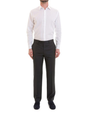 Brioni: Tailored & Formal trousers online - Dark grey wool tailored trousers