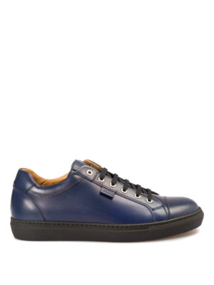 Brioni: trainers - Blue leather low top sneakers