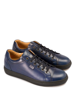 Brioni: trainers online - Blue leather low top sneakers