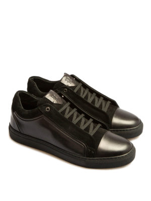 Brioni: trainers online - Suede and leather logo sneakers