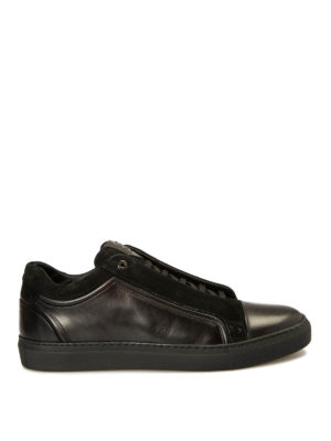 Brioni: trainers - Suede and leather logo sneakers