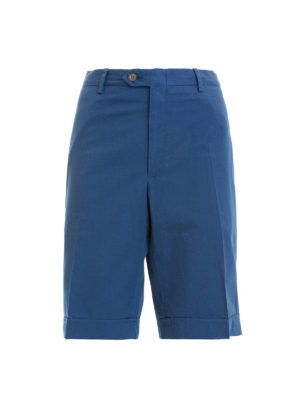 Brioni: Trousers Shorts - Blue cotton short chino trousers