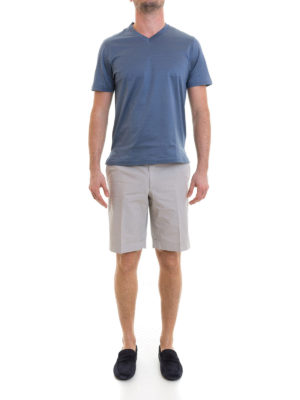 Brioni: Trousers Shorts online - Beige cotton short chino trousers