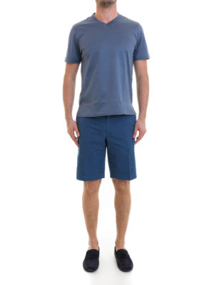 Brioni: Trousers Shorts online - Blue cotton short chino trousers