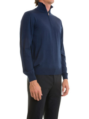 Brioni: Turtlenecks & Polo necks online - Zip detail blue wool turtleneck