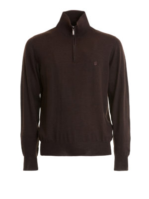 Brioni: Turtlenecks & Polo necks - Zip detail brown wool turtleneck