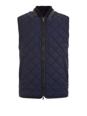 Brioni: waistcoats & gilets - Leather trims quilted waistcoat
