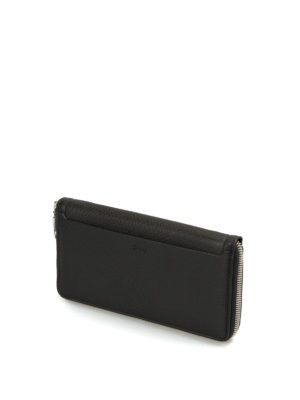 Brioni: wallets & purses online - Zip around hammered leather wallet