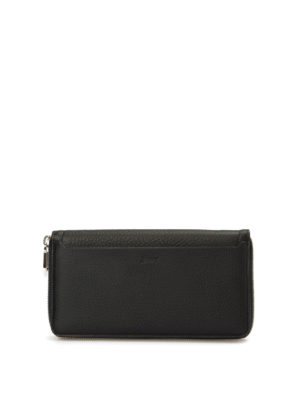 Brioni: wallets & purses - Zip around hammered leather wallet
