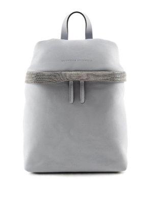 Brunello Cucinelli: backpacks - Monili embellished leather backpack