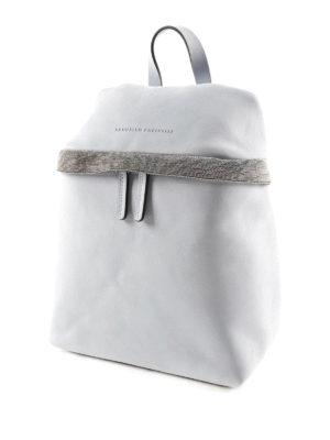 Brunello Cucinelli: backpacks online - Monili embellished leather backpack