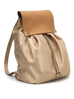 Brunello Cucinelli: backpacks online - Soft metallic leather backpack